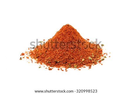 a handful of chopped red spices on a white background