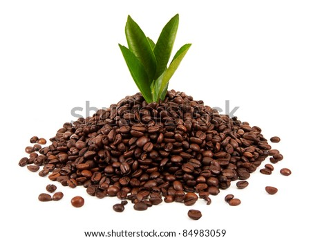 A handful of coffee isolated on white background - stock photo