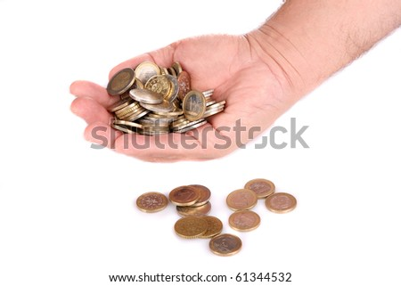 A handful of euro coins