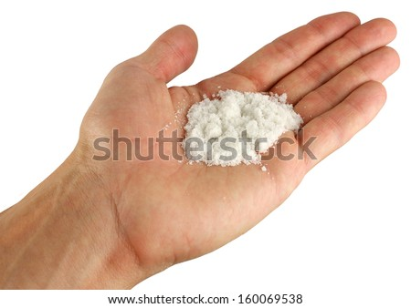 a handful of white powder in the human hand, salt - stock photo