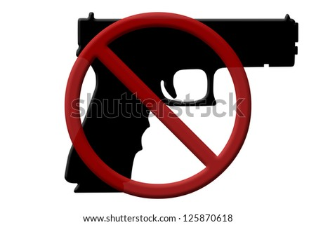 A handgun and a Not Allowed Symbol, Ban on handguns rifles - stock photo