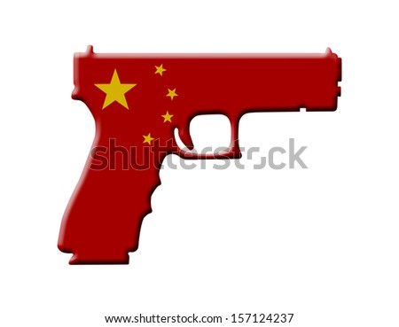 A Handgun in the Chinese flag colors, Handgun weapon in China