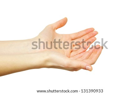 A hands begging alms on a red background