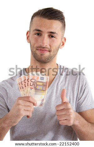 A handsome man has made some cash. All isolated on white background.