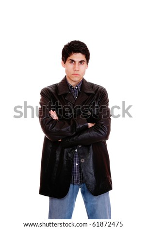 A handsome man in a leather jacket isolated on white background