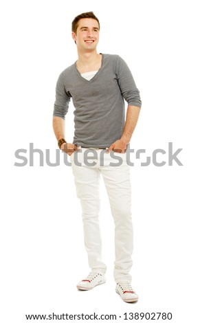 A handsome man standing isolated on white background - stock photo