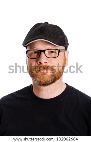 A handsome man with a red hair beard and glasses.