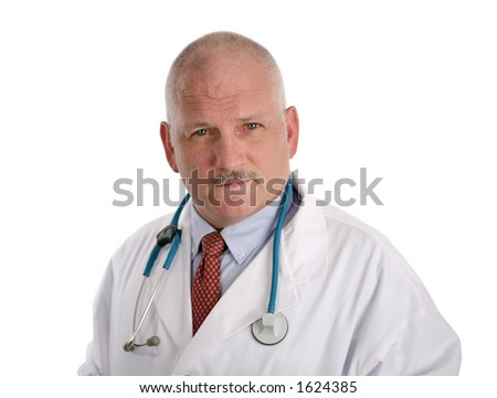 A handsome, mature doctor with a concerned expression, isolated on white.