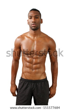 A handsome, muscular black man, isolated on a white background with generous copyspace.