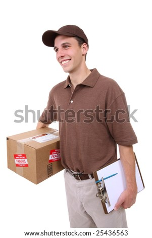 A handsome young delivery man delivering a package