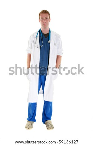 a handsome young doctor or internist isolated on white