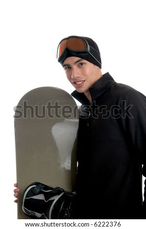 A handsome young man in a winter coat with a snowboard