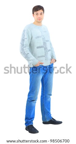A handsome young man, showing his thumb up. Isolated on a white background.