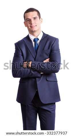 a handsome young man smiling pretty brunette in a dark business suit. Business portrait. business style. office. on a white background