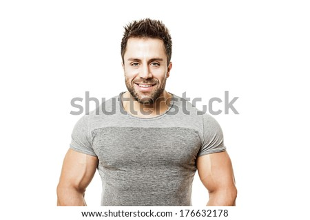 A handsome young muscular sports man. - stock photo