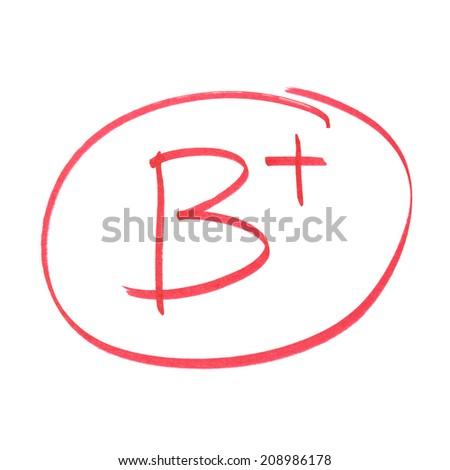 A handwritten grade for high achievements. - stock photo