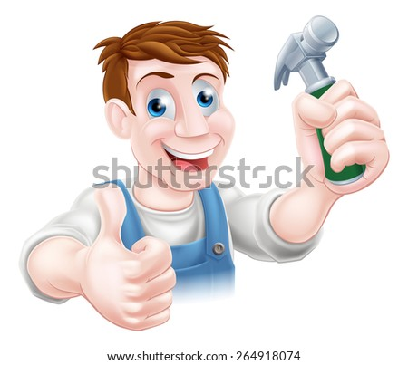 A handyman or carpenter holding a hammer and doing a thumbs up - stock photo
