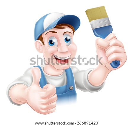 A handyman or decorator holding a paintbrush and doing a thumbs up - stock photo