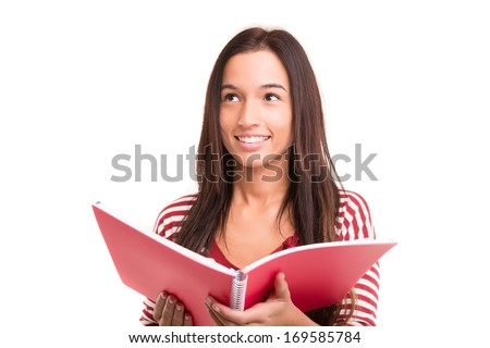 A happy asian student, isolated over a white background - stock photo