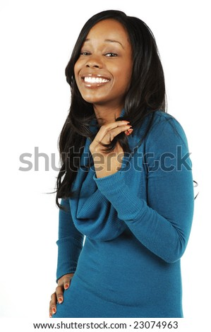 A happy, attractive African American woman. - stock photo