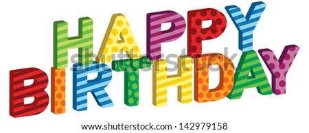 A Happy Birthday collection of stripe and polka dot wax birthday letter candles on white background.