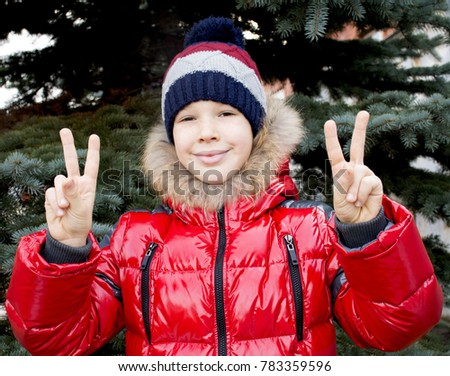 Happy Boy Shows Hand Gesture Hand Stock Photo Royalty Free
