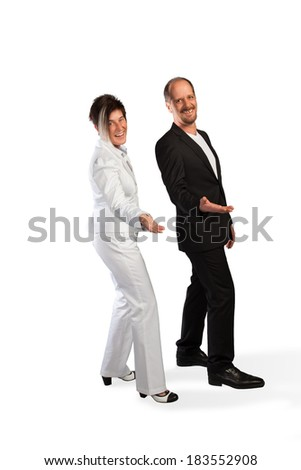 A happy Business Team are presenting themselves on a white background. - stock photo