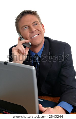a happy businessman on the phone
