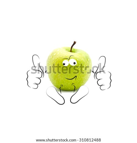 A happy cartoon apple smiling and giving a double thumbs up - stock photo