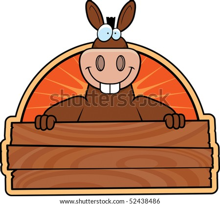 A happy cartoon donkey with a wooden sign. - stock photo