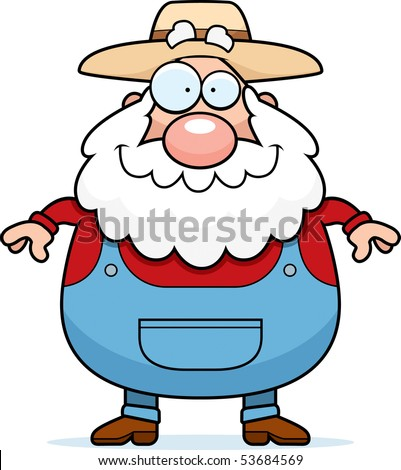A happy cartoon farmer standing and smiling. - stock photo