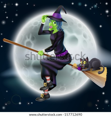A happy cartoon Halloween witch flying on her broom stick with her black cat and a full moon in the background - stock photo