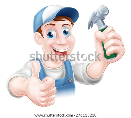A happy cartoon handyman or carpenter holding a hammer and doing a thumbs up - stock photo