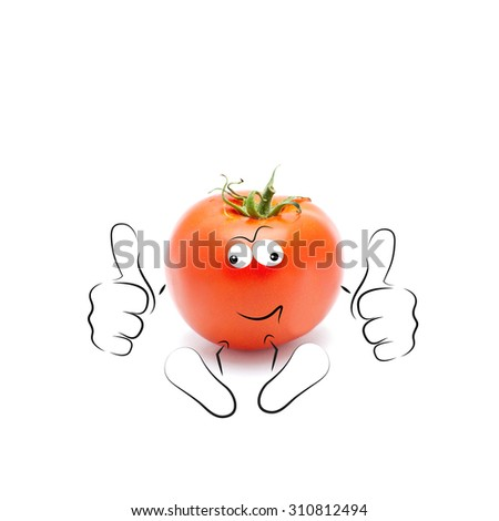 A happy cartoon tomato smiling and giving a double thumbs up - stock photo