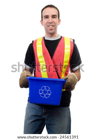 A happy city worker, smiling while holding a blue box, isolated against a white background