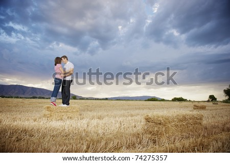 A happy couple enjoying time in the countryside