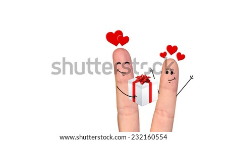 A happy couple in love offering gifts to each other - stock photo