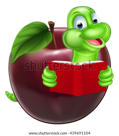 A happy cute cartoon caterpillar bookworm worm or catepillar reading a book and coming out of an apple - stock photo