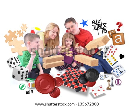 A happy family is playing with various games of puzzles, blocks and checkers on an isolated white background. - stock photo