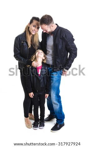 A happy family on studio white background