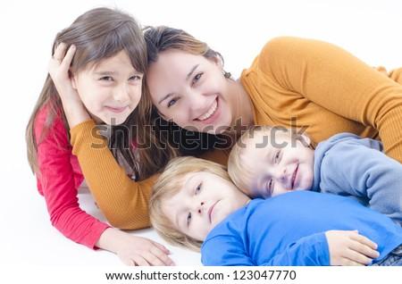 A Happy Family with three kids - stock photo