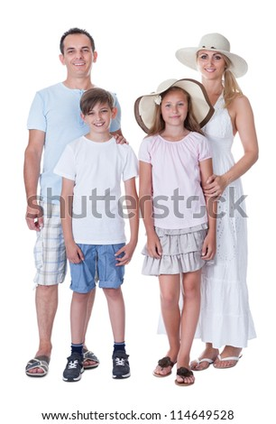 A Happy Family With Two Children Going For Vacation Isolated On White Background - stock photo
