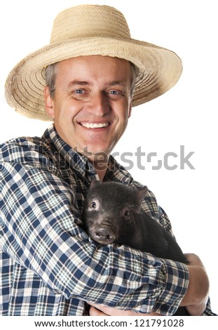 a happy farmer with a little black pig