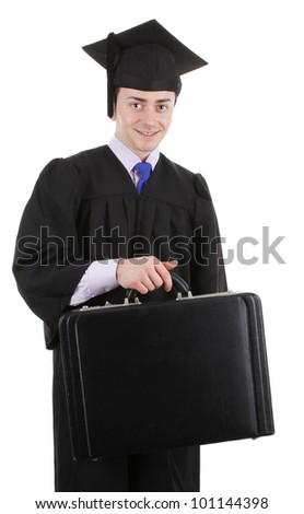 A happy graduate holding a breifcase, isolated on white