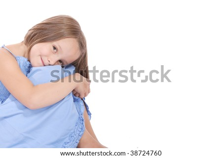 A Happy little girl isolated on white