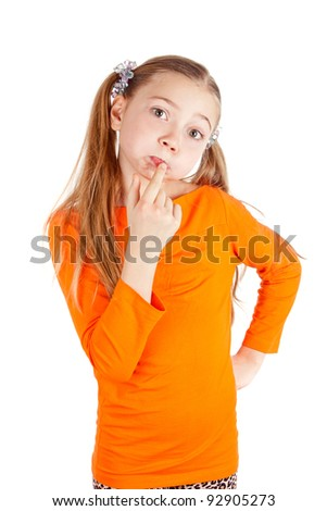 a happy little girl play and have fun - stock photo