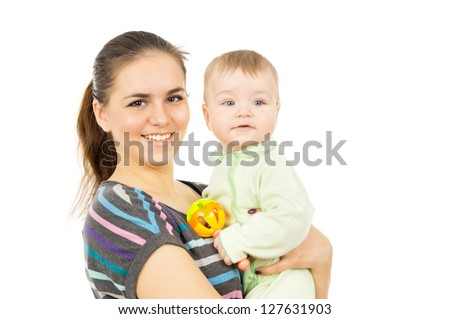 a happy mother holding the hands of his baby isolated on white background