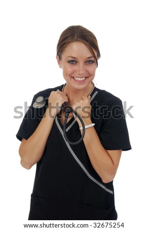 A happy nurse holding a stethoscope