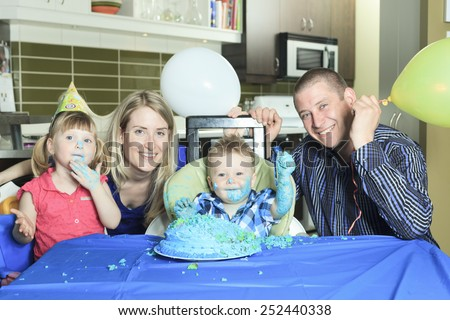 A Happy one Year Birthday with a smash the cake - stock photo