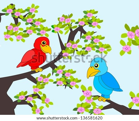 A happy parrot and a grumpy parrot sitting in a flowering tree.